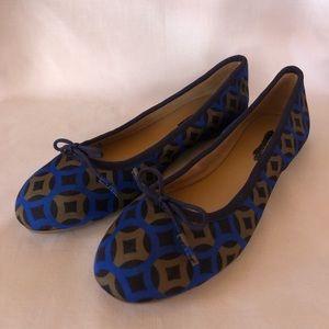 Talbots Navy Blue Patterned Flats